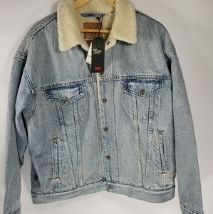 NWT Levis Sherpa lined Dad trucker jacket Large